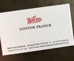 Visitenkarte Contor Franck